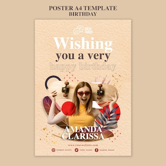 Poster template for birthday anniversary celebration