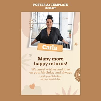 Poster template for birthday celebration