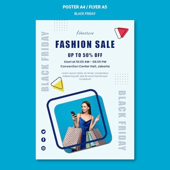 Poster template for black friday with woman and triangles