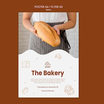 Poster template for bread baking shop