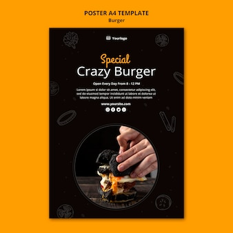 Poster template for burger bistro