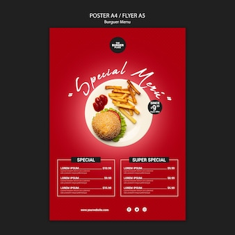 Poster template for burger restaurant