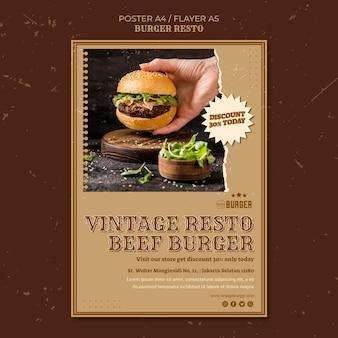 Poster template for burger restaurant