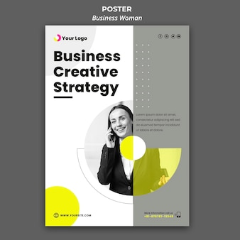 Poster template for businesswoman