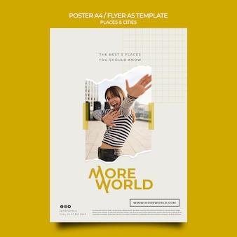 Modello di poster per città e luoghi che viaggiano