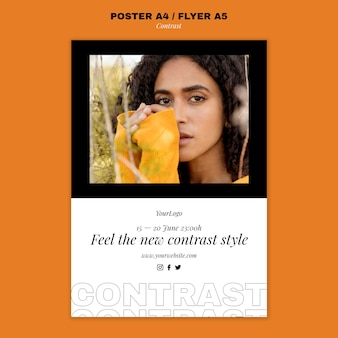 Poster template for contrasting style