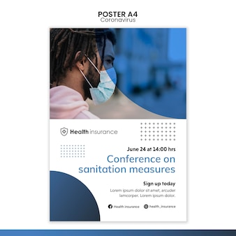 Poster template for coronavirus pandemic with medical mask