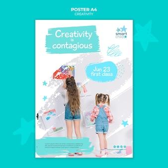 Modello di poster per bambini creativi che si divertono