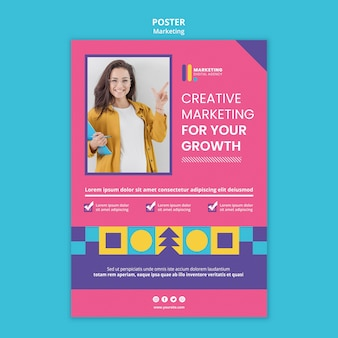Poster template for creative marketing agency