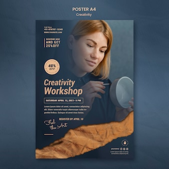 Poster template for creative pottery workshop with woman