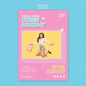 Poster template for cyber monday shopping