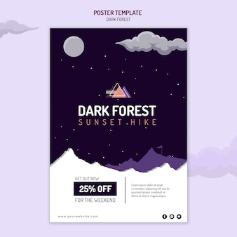 Poster template for dark forest hiking