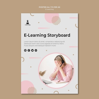 Poster template design e-learning concept