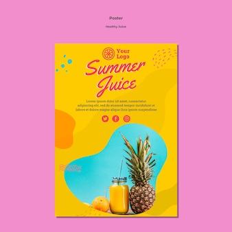 Modello di poster design per succo sano