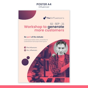 Modello di poster design per influencer