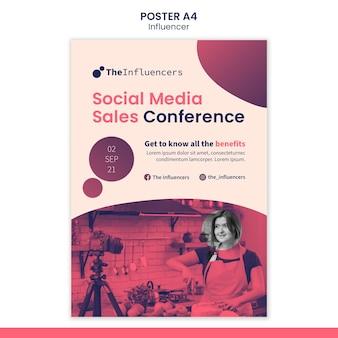 Modello di poster design per influencer