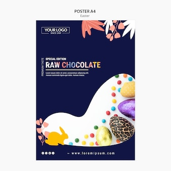Poster template design with dark chocolate for easter