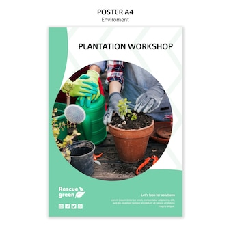Poster template design with environment
