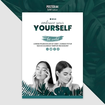Poster template design with wild nature