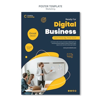 Poster template design with young man doing a presentation