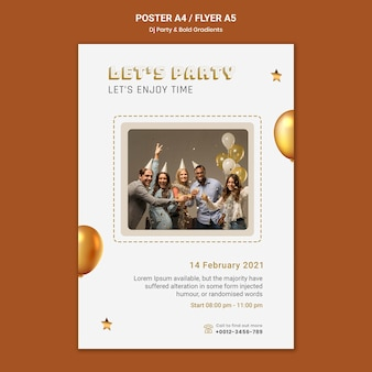 Poster template for dj party with people and balloons