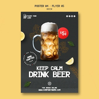 Poster template for drinking beer
