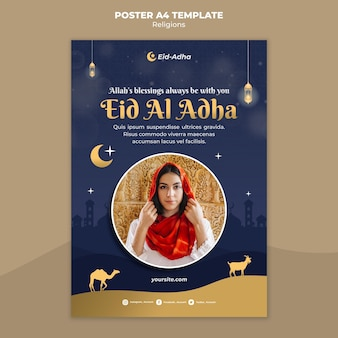 Poster template for eid al adha celebration