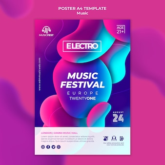Poster template for electro music festival with neon liquid effect shapes