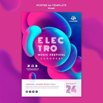 Modello di poster per festival di musica elettronica con forme di effetto liquido al neon