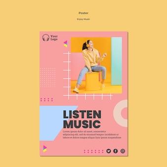 Modello di poster per godersi la musica