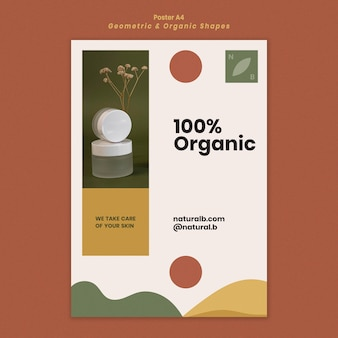 Poster template for essential oil bottle podium with geometric shapes