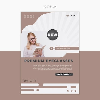Poster template for eye glasses company Free Psd