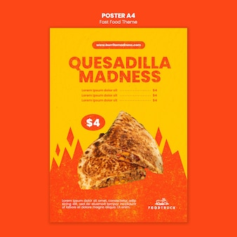 Modello di poster per ristorante fast food