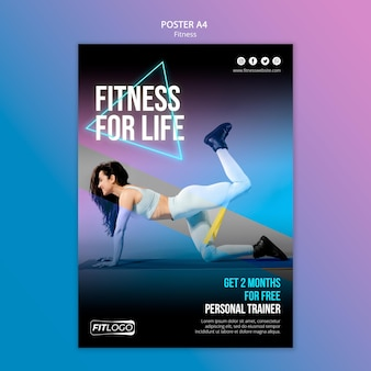 Poster template fitness trainer