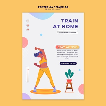 Poster template for fitness training at home