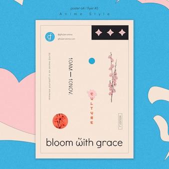 Modello di poster per giardino fiorito