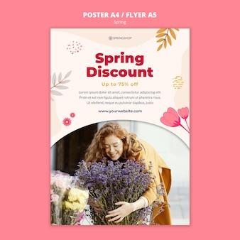 Modello di poster per negozio di fiori con fiori primaverili