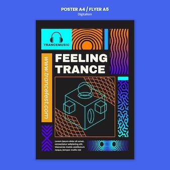 Шаблон плаката к фестивалю транс музыки 2021