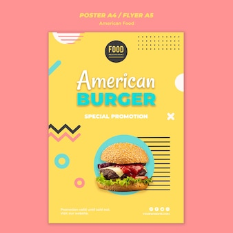Шаблон постера для американской еды с гамбургером
