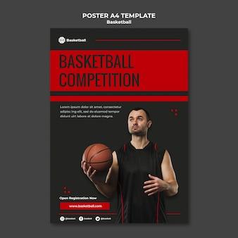男性プレーヤーとバスケットボールの試合のポスターテンプレート