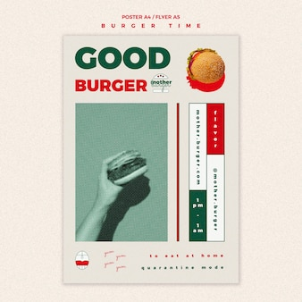 ハンバーガーレストランのポスターテンプレート