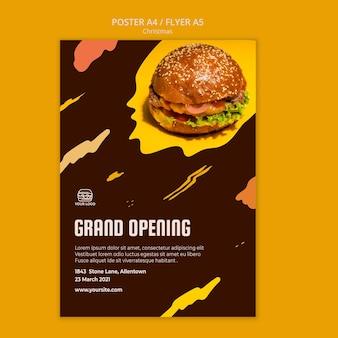 Шаблон плаката для бургерного ресторана