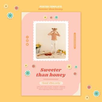Шаблон плаката для детей с цветами