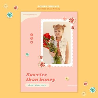 花を持つ子供のためのポスターテンプレート