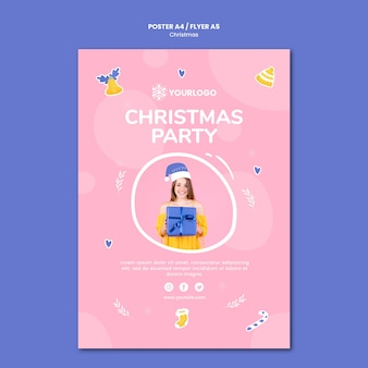Шаблон плаката для рождественской вечеринки