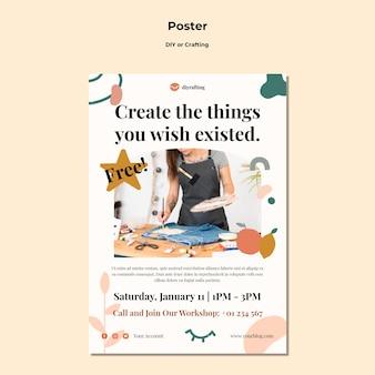 Diy 튜토리얼을위한 포스터 템플릿 무료 PSD 파일