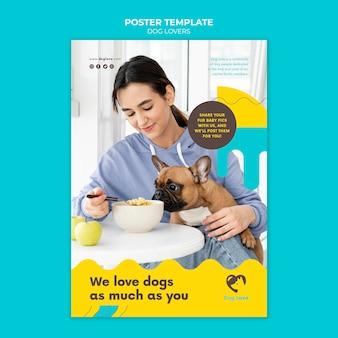 女性の飼い主と犬の愛好家のためのポスターテンプレート 無料 Psd