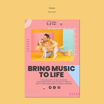 Шаблон плаката для прослушивания музыки