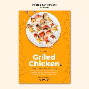 フライドチキン料理のポスターテンプレート