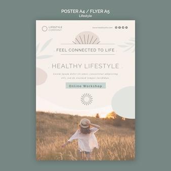 健康的なライフスタイル会社のポスターテンプレート